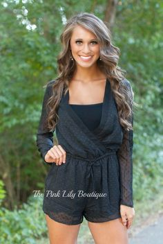 The Pink Lily Boutique - Dots For Days Black Romper , $38.00 (http://thepinklilyboutique.com/dots-for-days-black-romper/)