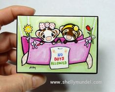 Ferrets in a hammock print block from original by ShellyMundelArt