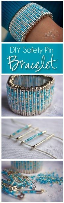 DIY Safety Pin Bracelet 80 safety pins Beads Elastic cording   Place beads on pin as desire.  After you have beaded all your pins thread them onto two elastic strings equal in length. Alternate the tops and bottoms of the pins.  When you have finished, tightly tie the beginning of the top string to the end.   Cut the excess strings and you're done!!