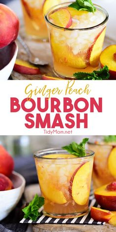 Ginger Peach Bourbon Smash Fresh peaches, ginger beer, and bourbon come together in one light and refreshing summer cocktail. One sip of this Ginger Peach Bourbon Smash and you'll be flooded with summer memories. Print the full recipe at Whiskey Ginger, Peach Whiskey, Bourbon Whiskey, Scotch Whiskey, Whisky, Refreshing Summer Cocktails, Whiskey Cocktails, Cocktail Drinks, Summer Bourbon Cocktails