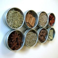 This is a super spice space saver! Say that 3 times fast. A while back, I found this sweet set of magnetic spices on Etsy (of course). I just love how the see-through lids show off the different co…