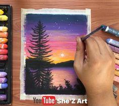 Small Canvas Paintings, Oil Pastel Paintings, Oil Pastel Art, Beginner Oil Painting, Watercolor Paintings For Beginners, Oil Pastel Landscape, Oil Pastel Drawings Easy, Sunset Lake, Beautiful Sunset