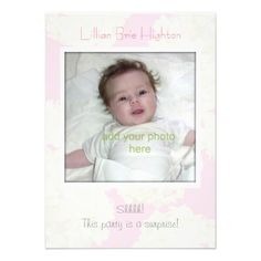 Pink Floral Baby Girl Adoption Shower Invitation