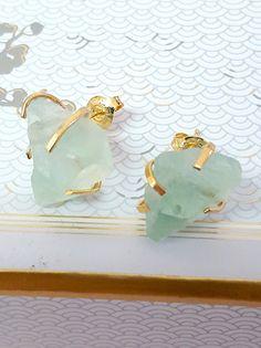 Raw Stone Earrings, Mint Green Gold Raw Fluorite Stud Earrings Natural Stone Organic Fluorite Post Earrings, Bridesmaid Earrings