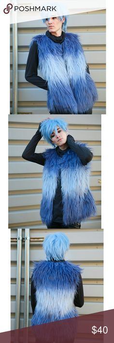 Blue Ombre Fur Vest Jacket Sweater Stylish Winter Super Stylish and soft fur vest.  Blue with light pale blue in the middle.  New with tags.  Size: L/XL Rue21 Jackets & Coats Vests