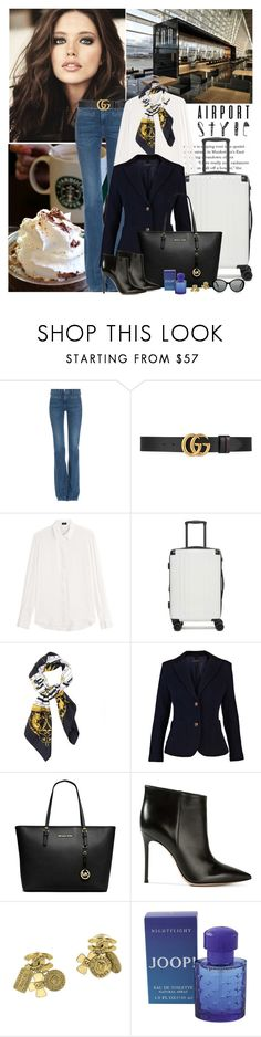 """""""Wanderlust Wonderful: Airport Style"""" by dezaval ❤ liked on Polyvore featuring M.i.h Jeans, Gucci, Joseph, CalPak, Hermès, Michael Kors, Gianvito Rossi, Victoria, Victoria Beckham, Chanel and Joop!"""