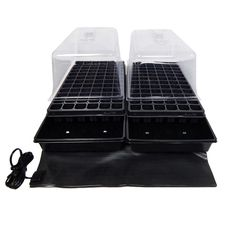 11 in. x 22 in. Tall Clear Plastic Dome Dual Tray Kit with 2 Domes, 2 Std. Flats (2) 72 Cell Inserts and Dual Heat Mat, Black