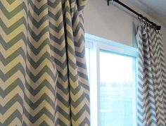 Beautiful linen chevron curtains with tutorials for sewing lined panel drapes.