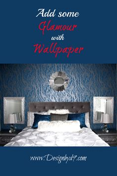 I added this wall paper to the feature wall of my guest bedroom and took this room up a notch or two. Master Bedroom, Bedroom Decor, Diy Home Repair, Diy Decorating, Luxurious Bedrooms, Bedroom Inspiration, Colorful Decor, Organize, Sew