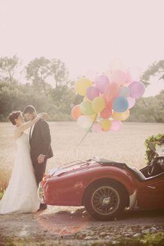 Ballons accrochés à voiture + à poser dans jardin