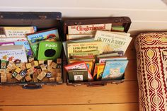 i love: children's books & old suitcases