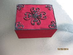 "J C Penney Burgundy Fabric Beaded Jewelry Box with Mirror 6"" x 3.5"" x 4.5"" #JCPenney"
