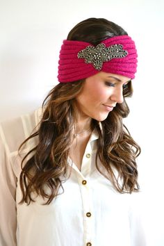 HOT PINK Bohemian Knitted Headband Boho Hair Accessories Knit Ear Warmer Head Bands Hair Wrap Turband on Etsy, $30.00