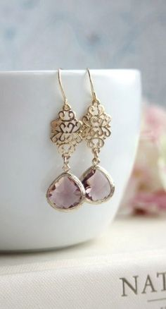 Plum Glass Filigree Gold Dangle Drop Earrings, easter ideas.