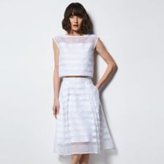 MILLY+for+DesigNation+Striped+Organza+Midi+Skirt+-+Women's
