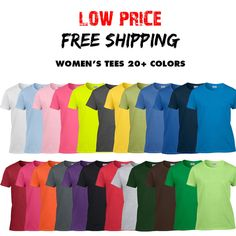Womens Gildan T Shirt Ladies Blank Tee Ultra Cotton 20 COLORS