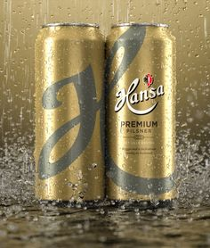 3D Hansa Beer Cans - Packaging & Advertising by Tim Cooper - 3D Image Creation, via Behance