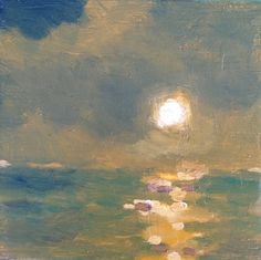 ARTFINDER: Moon Over Ocean by Rod Norman - Painted on a board, this painting captures the sull warm colors of the evening moonglow over the ocean. I loved the way the moon pushed through the misty air...