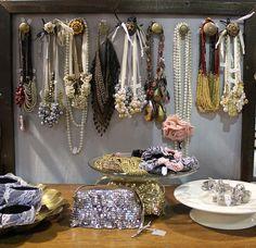 Use vintage doorknobs to display necklaces and bracelets. DIY Jewelry Displays - Blog - Boutique Window www.boutiquewindo... #diyjewelry #diybracelets #necklacedisplay