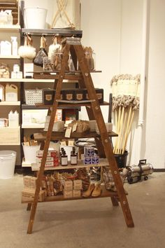 vintage ladder and boards for a  shelf.  west elm Market | Personal Care