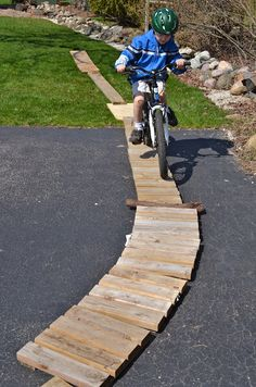 How to make a wooden bike path for kids in the driveway | from the What Did We Do All Day? blog