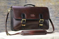 Mitchell Leather Briefcases - oh my gosh custom-made deliciousness. I love this combo & they have one with distressed brown exterior & olive interior (as well as hundreds of other combos it seems) - so swell