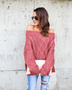 8c6f961dd22c Get Together Off The Shoulder Sweater - Marsala Fall Outfits For Work