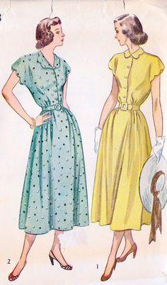 """1940s Shirtwaist Dress Vintage Sewing Pattern, Summer Dress, Summer Fashion, Simplicity 2473 Bust 32"""""""