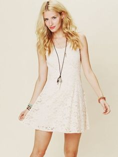Free People- Kristals Lace Fit and Flare Dress - $75