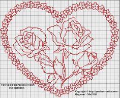 Grille gratuite point de croix : Coeur et roses