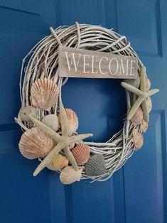 Driftwood Wreath, Seashell Wreath, Seashell Art, Seashell Crafts, Coastal Wreath, Nautical Wreath, Beach Wreaths, Wreath Crafts, Diy Wreath
