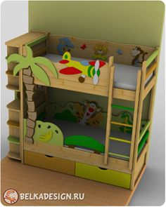 Кровати двухъярусные с мебелью - Детский интерьер