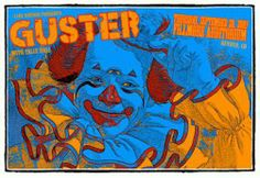 Original 4 color Silkscreen concert poster for Guster at Red Rocks in Denver, CO 2007. 31 x 23 inches on card stock. Art by Lindsey Kuhn.
