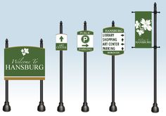 Custom wayfinding signs can be designed and developed for any small town, city or development.
