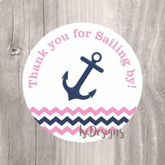 Girl Pink Nautical Thank You Tags, Printable Nautical Pink and Navy Anchor Tags…