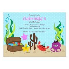 Pool Party Invitations Cute Under the Sea Mermaid Birthday Party Card