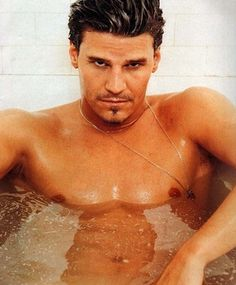 David Boreanaz - I think hot men should be required to walk around lightly moistened at all times.  Just like men look better in kilts, men look better when wet, too.