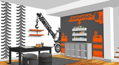 Construction Crane With Truck Vinyl Wall by RobotWhaleStudios