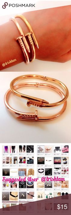 2 for $15 nail bracelets/cuffs Brand new. Listing includes both gold and rose gold bracelets. 2 for $15‼️Please ❌trades and ❌offers. Price is firm unless bundled.‼️ Elegant Jewelry Jewelry Bracelets