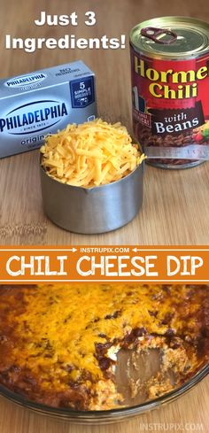 Easy 3 Ingredient Chili Cheese Dip (The BEST party appetizer!) This quick and ea… Easy 3 Ingredient Chili Cheese Dip (The BEST party appetizer!) This quick and ea…,art Easy 3 Ingredient Chili Cheese Dip. Best Party Appetizers, Quick And Easy Appetizers, Appetizer Dips, Easy Snacks For Party, Simple Party Food, Appetizer Party, Dip Recipes For Parties, Quick Party Food, Warm Appetizers