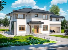 DOM.PL™ - Projekt domu ARP EMILIAN CE - DOM AP2-13 - gotowy koszt budowy Classic House Exterior, Modern Small House Design, Design Case, Home Fashion, Home Projects, Colonial, Sweet Home, Villa, Construction