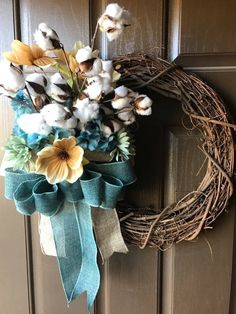 Excited to share the latest addition to my #etsy shop: Fall Cotton Blossom Grapevine Wreath http://etsy.me/2COotRO #housewares #homedecor #blue #beige #cottonblossom #cotton #cottonwreath #fallcottonwreath #grapevinewreath