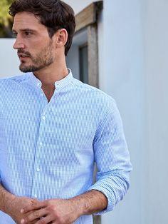 Men S Slim Fit Blue Dress Shirt White Collar - Shirt Photo Collection White Collar Dress Shirt, Banded Collar Shirts, Blue Shirt Dress, Best Casual Shirts, Formal Shirts For Men, Men Shirts, Slim Fit Dress Shirts, Fitted Dress Shirts, Best Friend Shirts