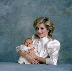 Princess Diana and the baby Prince Harry..........