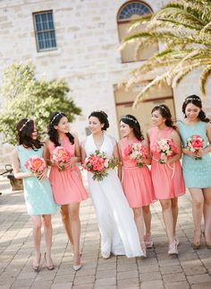 Coral & Mint -- Bridesmaids. On http://www.StyleMePretty.com/australia-weddings/2014/04/01/peony-filled-wedding-in-perth/ AnggaPermanaPhoto.com