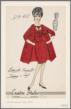 Brocade ensemble: dress and coat From New York Public Library Digital Collections.