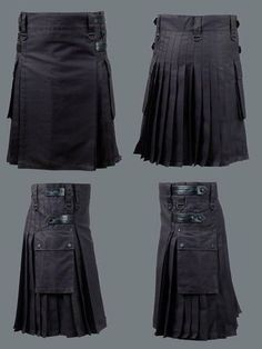 Active Men Black Deluxe Utility Modern Kilt with Leather Faster Straps