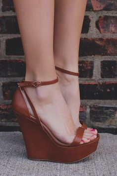Whiskey Buckle Ankle Strap Platform Wedge UOIOnline com Womens Clot Pretty Shoes, Beautiful Shoes, Cute Shoes, Me Too Shoes, Wedge Heels, High Heels, High Wedges, Brown Wedges, Strappy Heels