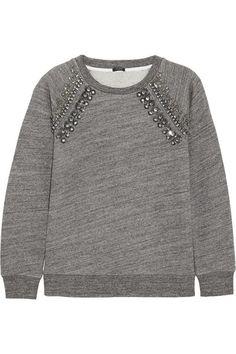 J.Crew|Verziertes Sweatshirt aus Jersey aus einer Baumwollmischung|NET-A-PORTER.COM