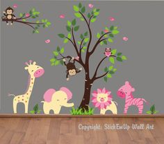 Pink Birds and Tree Wall Mural Stickers